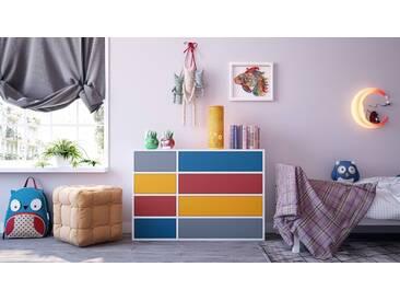 Highboard Weiß - Elegantes Highboard: Schubladen in Blau - Hochwertige Materialien - 116 x 80 x 35 cm, Selbst designen