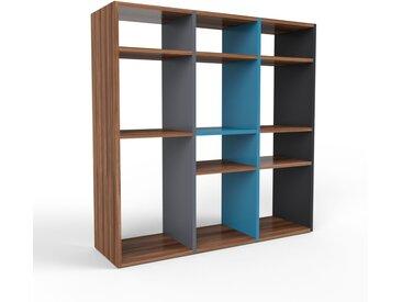 Schallplattenregal Nussbaum, Holz - Modernes Regal für Schallplatten: Hochwertige Qualität, einzigartiges Design - 118 x 118 x 35 cm, Selbst designen