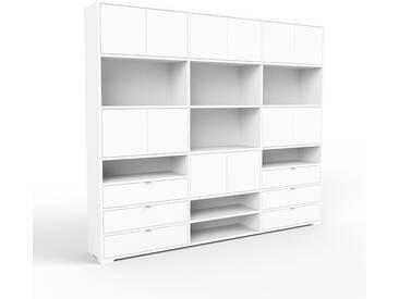 Aktenschrank Weiß - Büroschrank: Schubladen in Weiß & Türen in Weiß - Hochwertige Materialien - 226 x 196 x 35 cm, Modular