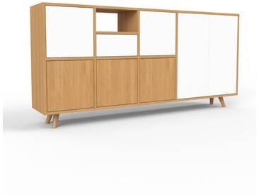 Sideboard Eiche - Sideboard: Schubladen in Weiß & Türen in Weiß - Hochwertige Materialien - 193 x 91 x 35 cm, konfigurierbar