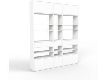 Bücherregal Weiß - Modernes Regal für Bücher: Schubladen in Weiß & Türen in Weiß - 190 x 233 x 35 cm, konfigurierbar