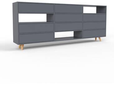 Sideboard Anthrazit - Designer-Sideboard: Schubladen in Anthrazit - Hochwertige Materialien - 226 x 91 x 35 cm, Individuell konfigurierbar