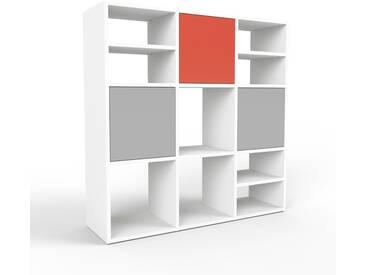 Highboard Weiß - Elegantes Highboard: Türen in Grau - Hochwertige Materialien - 118 x 118 x 35 cm, Selbst designen