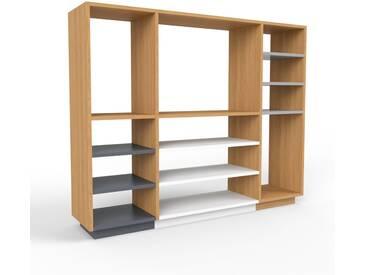 Bücherregal Eiche, Holz - Modernes Regal für Bücher: Hochwertige Qualität, einzigartiges Design - 154 x 124 x 35 cm, konfigurierbar