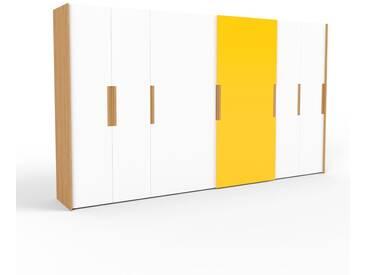 Kleiderschrank Eiche, Holz - Individueller Designer-Kleiderschrank - 404 x 233 x 65 cm, Selbst Designen, hohe Schublade/Schublade Glasfront/Kleiderlift/Hosenhalter