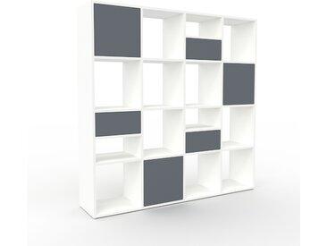 Regalsystem Weiß - Regalsystem: Schubladen in Anthrazit & Türen in Anthrazit - Hochwertige Materialien - 156 x 157 x 35 cm, konfigurierbar