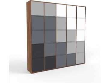 Aktenschrank Nussbaum - Flexibler Büroschrank: Türen in Anthrazit - Hochwertige Materialien - 195 x 196 x 35 cm, Modular