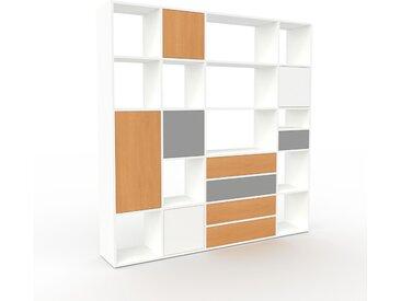 Regalsystem Weiß - Regalsystem: Schubladen in Buche & Türen in Buche - Hochwertige Materialien - 193 x 195 x 35 cm, konfigurierbar