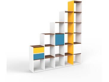 Regalsystem Weiß - Regalsystem: Schubladen in Blau & Türen in Blau - Hochwertige Materialien - 195 x 233 x 35 cm, konfigurierbar