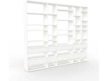 Regalsystem Weiß - Flexibles Regalsystem: Schubladen in Weiß - Hochwertige Materialien - 267 x 233 x 35 cm, Komplett anpassbar