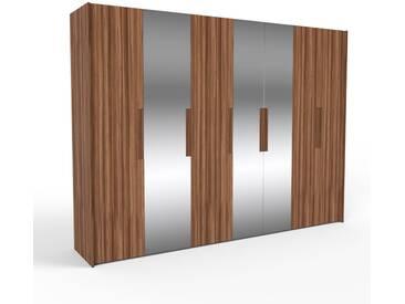 Kleiderschrank Nussbaum, Holz - Individueller Designer-Kleiderschrank - 314 x 233 x 62 cm, Selbst Designen, hohe Schublade/Hosenhalter