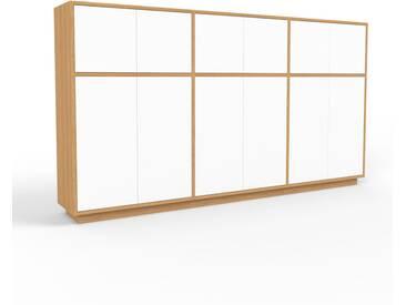 Highboard Eiche - Elegantes Highboard: Türen in Weiß - Hochwertige Materialien - 226 x 124 x 35 cm, Selbst designen