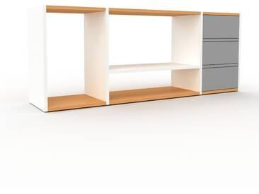 Rollcontainer Weiß - Moderner Rollcontainer: Schubladen in Grau - 154 x 61 x 35 cm, konfigurierbar