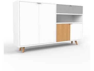 Sideboard Weiß - Sideboard: Schubladen in Grau & Türen in Weiß - Hochwertige Materialien - 152 x 91 x 35 cm, konfigurierbar
