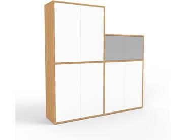 Aktenschrank Eiche - Flexibler Büroschrank: Türen in Weiß - Hochwertige Materialien - 152 x 157 x 35 cm, Modular
