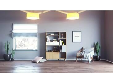Bücherregal Eiche - Modernes Regal für Bücher: Schubladen in Weiß & Türen in Eiche - 116 x 168 x 35 cm, konfigurierbar