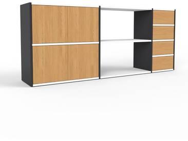Sideboard Schwarz - Sideboard: Schubladen in Eiche & Türen in Eiche - Hochwertige Materialien - 190 x 80 x 35 cm, konfigurierbar