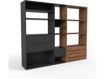 Bücherregal Schwarz - Modernes Regal für Bücher: Schubladen in Schwarz - 190 x 157 x 35 cm, Individuell konfigurierbar