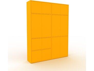 Schrankwand Gelb - Moderne Wohnwand: Türen in Gelb - Hochwertige Materialien - 152 x 195 x 35 cm, Konfigurator