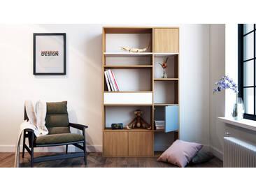 Bücherregal Eiche - Modernes Regal für Bücher: Schubladen in Weiß & Türen in Eiche - 116 x 195 x 35 cm, konfigurierbar
