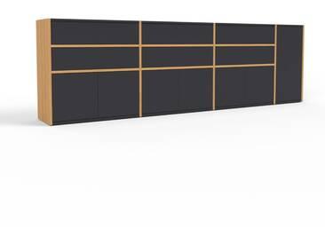 Sideboard Eiche - Sideboard: Schubladen in Schwarz & Türen in Schwarz - Hochwertige Materialien - 265 x 80 x 35 cm, konfigurierbar