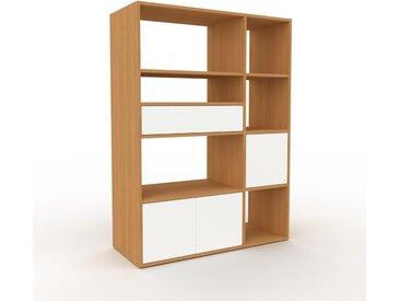 Regalsystem Eiche - Regalsystem: Schubladen in Weiß & Türen in Weiß - Hochwertige Materialien - 116 x 157 x 47 cm, konfigurierbar