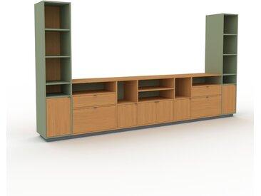 Aktenregal Eiche - Büroregal: Schubladen in Eiche & Türen in Eiche - Hochwertige Materialien - 380 x 200 x 47 cm, konfigurierbar