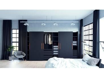 Kleiderschrank Schwarz - Individueller Designer-Kleiderschrank - 404 x 233 x 65 cm, Selbst Designen, hohe Schublade/Schublade Glasfront/Kleiderlift