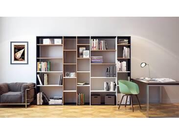 Bücherregal Schwarz - Modernes Regal für Bücher: Hochwertige Qualität, einzigartiges Design - 267 x 195 x 35 cm, Individuell konfigurierbar