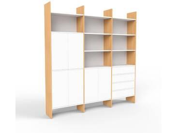 Aktenregal Buche - Büroregal: Schubladen in Weiß & Türen in Weiß - Hochwertige Materialien - 226 x 233 x 35 cm, konfigurierbar