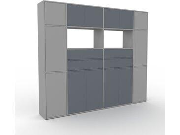 Aktenschrank Grau - Büroschrank: Schubladen in Anthrazit & Türen in Anthrazit - Hochwertige Materialien - 229 x 195 x 35 cm, Modular