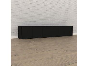 Lowboard Schwarz - Designer-TV-Board: Türen in Schwarz - Hochwertige Materialien - 226 x 41 x 35 cm, Komplett anpassbar