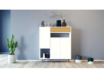 Highboard Weiß - Highboard: Schubladen in Eiche & Türen in Weiß - Hochwertige Materialien - 116 x 130 x 35 cm, Selbst designen