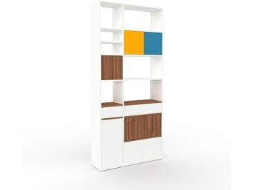 Regalsystem Weiß - Regalsystem: Schubladen in Weiß & Türen in Weiß - Hochwertige Materialien - 116 x 253 x 35 cm, konfigurierbar
