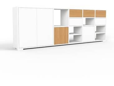 TV-Schrank Weiß - Fernsehschrank: Schubladen in Eiche & Türen in Weiß - 231 x 81 x 35 cm, konfigurierbar