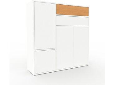 Highboard Weiß - Highboard: Schubladen in Buche & Türen in Weiß - Hochwertige Materialien - 116 x 118 x 35 cm, Selbst designen