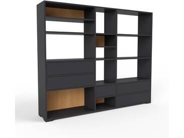 Bücherregal Schwarz - Modernes Regal für Bücher: Schubladen in Schwarz - 190 x 158 x 35 cm, Individuell konfigurierbar