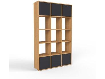 Schallplattenregal Eiche - Modernes Regal für Schallplatten: Türen in Schwarz - 118 x 195 x 35 cm, Selbst designen