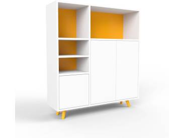 Highboard Weiß - Elegantes Highboard: Türen in Weiß - Hochwertige Materialien - 116 x 130 x 35 cm, Selbst designen