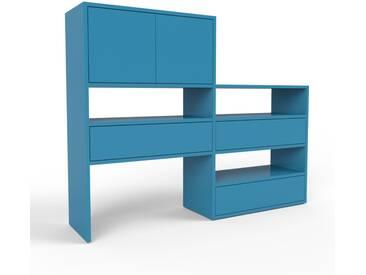 Bücherregal Blau - Modernes Regal für Bücher: Schubladen in Blau & Türen in Blau - 152 x 118 x 35 cm, konfigurierbar