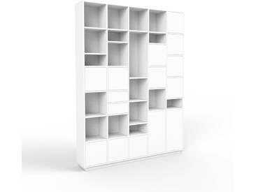 Aktenschrank Weiß - Büroschrank: Schubladen in Weiß & Türen in Weiß - Hochwertige Materialien - 195 x 258 x 35 cm, Modular