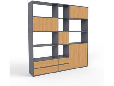 Regalsystem Anthrazit - Regalsystem: Schubladen in Eiche & Türen in Eiche - Hochwertige Materialien - 190 x 195 x 35 cm, konfigurierbar