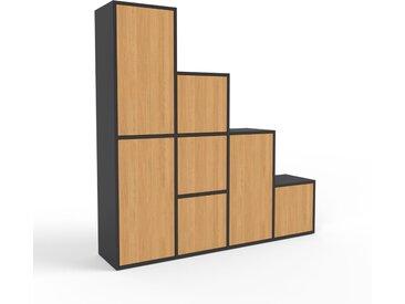 Regalsystem Schwarz - Flexibles Regalsystem: Türen in Eiche - Hochwertige Materialien - 156 x 157 x 35 cm, Komplett anpassbar
