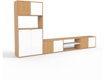 TV-Schrank Eiche - Moderner Fernsehschrank: Türen in Weiß - 301 x 157 x 35 cm, konfigurierbar