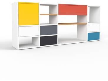 Bücherregal Weiß - Modernes Regal für Bücher: Schubladen in Weiß & Türen in Gelb - 193 x 80 x 35 cm, konfigurierbar