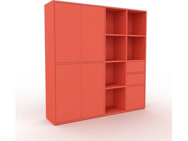 Schrankwand Rot - Moderne Wohnwand: Schubladen in Rot & Türen in Rot - Hochwertige Materialien - 154 x 157 x 35 cm, Konfigurator
