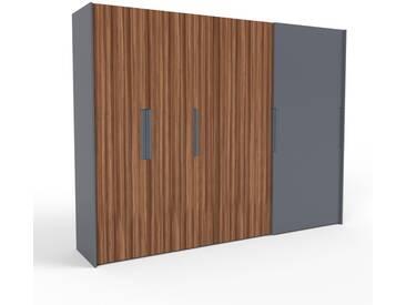 Kleiderschrank Anthrazit - Individueller Designer-Kleiderschrank - 304 x 233 x 65 cm, Selbst Designen, hohe Schublade/Schublade Glasfront/Kleiderlift