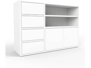 Sideboard Weiß - Sideboard: Schubladen in Weiß & Türen in Weiß - Hochwertige Materialien - 116 x 80 x 35 cm, konfigurierbar