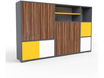 Sideboard Anthrazit - Designer-Sideboard: Türen in Nussbaum - Hochwertige Materialien - 190 x 120 x 35 cm, Individuell konfigurierbar