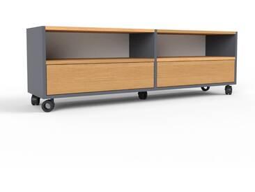TV-Schrank Anthrazit - Moderner Fernsehschrank: Schubladen in Eiche - 152 x 49 x 35 cm, konfigurierbar